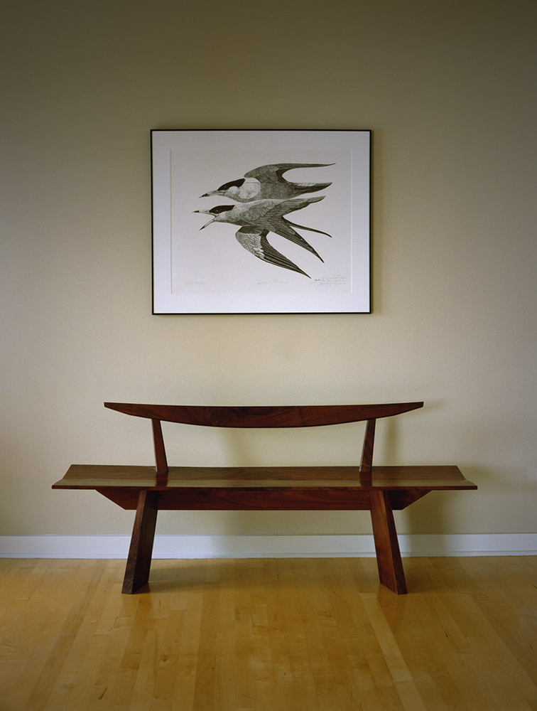 Walnut bench by Robert Spangler
